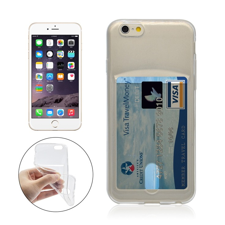 new concept b588f 2a528 iPhone 6+/6S+ silicone case with card slot - Transparent   Cool cases 4  wholesale prices!