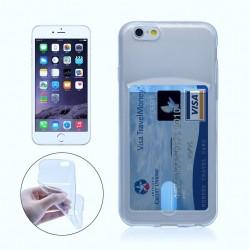 iPhone 6 Plus / 6S Plus silikoni kuoret pankkikortti-paikalla  - Sininen