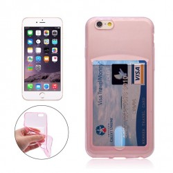 iPhone 6+/6S+ silicone case with card slot - Pink