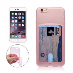 iPhone 6+/6S+ Silikon Case mit Karte Slot - Rosa