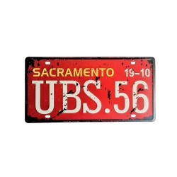 License plate, metal sheet metal poster for decoration - Sacramento