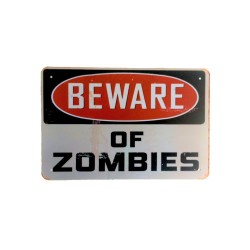 Vintage metal poster for decoration, metal sign - Beware of Zombies