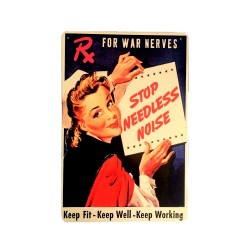 Vintage metal poster for decoration, metal sign - Stop needless noise