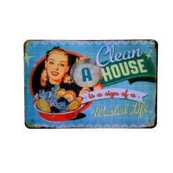 Vintage metal poster for decoration, metal sign - Clean a house