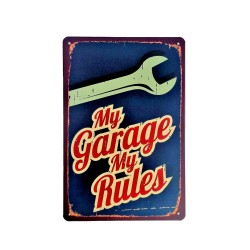 Vintage metal poster for decoration, metal sign - My garage my rules