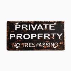 License plate, metal sheet metal poster for decoration – Private Property