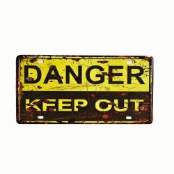 License plate, metal sheet metal poster for decoration – Danger